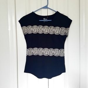 Epic Threads Black Top with Lace Print L